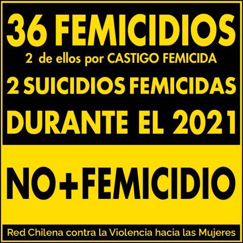 36 femicidios, 2 de ellos por castigo femicida y 2 suicidios femicidios durante 2021.