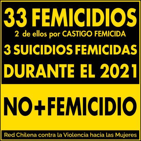 33 femicidios, dos de ellos por castigo femicida, 3 suicidios femicidias durante el 2021. no más femicidio.